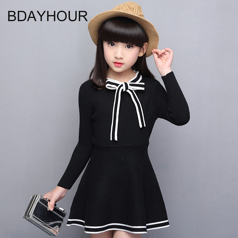 Bowknot Long-Sleeved Girl Solid Color Knit Dress 2017 Spring New Sweet Princess Bow Tie With Girls Slim Wool Soft Knit Dresses<br><br>Aliexpress