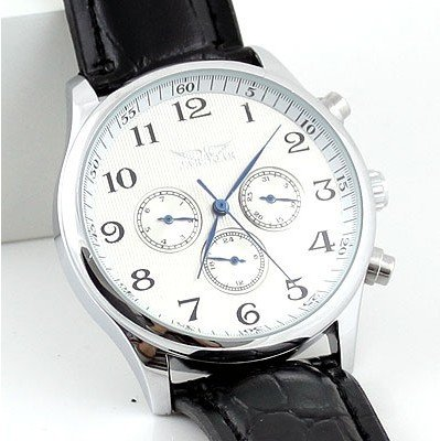 Men White Automatic Watch Leather 6 Hands Week/Date/24H<br>