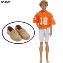 2 Pcs/lot = 1x Orange Rugby Jerseys Outfit American Football Costume + 1x High Quality Shoes Clothes For Barbie Doll Ken Gifts(China)