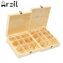 12/16 Compartments Wooden Tea Box Storage Container Jewelry Accessories Pine Wood Tea Gift Store Box Case Container