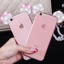 Hot  Sweet Mickey Minnie ears diamond clear case For iphone 5 5s 6 6s Plus 6s Plus 3D Rhinestone glitter soft transparent cover
