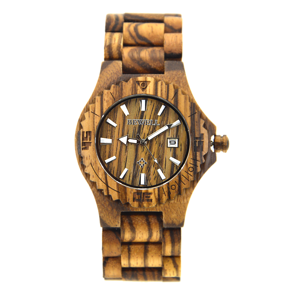 Bewell Mens wood watches original gaiety wood watch auto date with Luminous Hands Japan Movement free shipping Wholesale 020C<br>