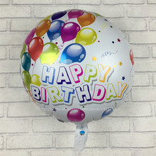 XXPWJ Free Shipping New Happy birthday round aluminum balloons birthday party decoration foil balloon wholesale A-026(China)