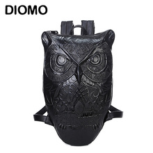 DIOMO Women Backpack 2017 Newest Stylish Cool Black PU Leather Owl Backpack Female Hot Sale Women Bag In Stock Fast Shipping