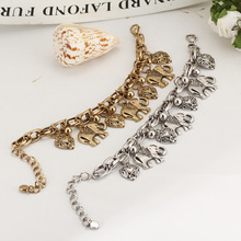Wholesale Unique Fine Silver/Gold Chain Anklet Thailand Elephant Heart Charm Ankle Bracelet Foot Jewelry Hot Selling For Women