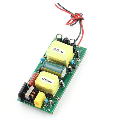 AC 85-265V Black Red 2 Wires 80W LED Driver Power Supply Adapter<br>