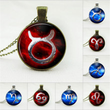 Fashion Red Zodiac Pendant Necklace Glass Cabochon Antique Bronze Necklace Art Picture Statement Necklace Sky Fashion for women