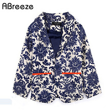 Abreeze children boys blue and white porcelain flower print single-breasted boy blazer jacket chinses style little boys jackets