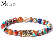 Mcllroy Anchor Black CZ Pave Natrual Stone Beads Bracelets for Men Amazon Ebay Jewelry Supplier Charm Fashionable Mala Jewellery