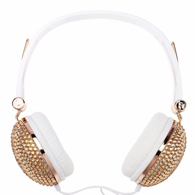 Artificial Shiny Crystal Rhinestone Bling Headphones Portable Fashion Adjustable Noise Cancelling Girl Headset For Game Phone PC<br><br>Aliexpress