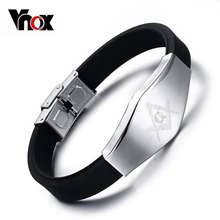 Vnox Masonic Silicone Bracelet Bangle Stainless Steel Adjustable Length Clasp
