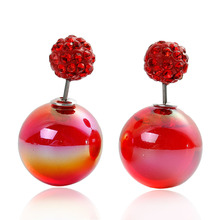 Doreen Box Acrylic Double Sided Ear Post Stud Earrings Ball AB Color Red Rhinestone 8mm Dia. 16mm Dia.,1 Pair