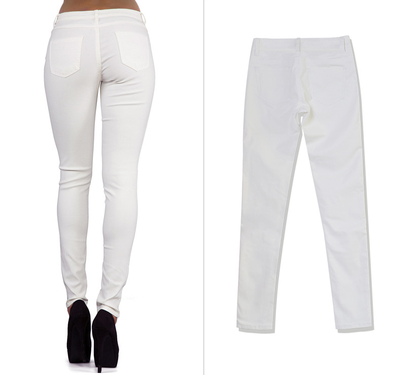 Europe and the United States women's low waist stretch pants feet double zipper PU white coating imitation leather pants large size (5)
