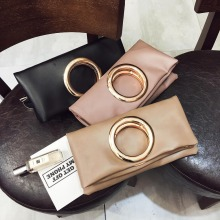Female Folded Messenger Bags Circle Ring Shoulder Bags Handbag Multi-role Pu Envelope Clutch Bag