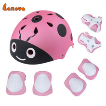 LANOVA Lovely Protective Gear Set Kids Knee Elbow Pads Wrist Protector Protection Child helmet for Scooter Cycling Roller Skate