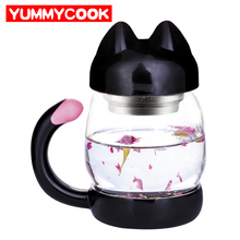 420ml Cute Cat Glass Mug With Filter Coffee Tea Drinkware Cup Outdoor Travel Wholesale Cooking Kitchen Gadgets Accessories(China)
