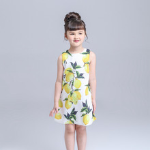 Kimocat girls dresses Summer 2017 Party Dress Infant Lemon Color flower girl dresses Kids Costume Printed Children Jurk Discount(China)