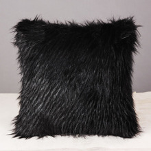 a Villa example room pillowcase Fake fur pillowcases on the black long hair Single cushion for leaning on(China)