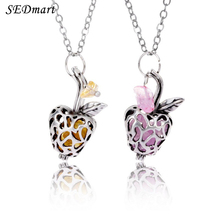 SEDmart Silver Color Apple Shape Locket Pink Crystal Chips Pendant Necklace Natural Stone  Pink Crystal Collar Necklace