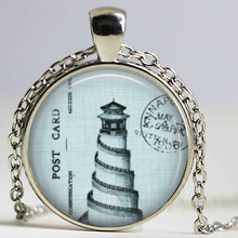 Free shipping Vintage Lighthouse necklace Nature Marine Ocean Sea Beach Pendant Light Blue Lighthouse Charm pendant jewellery