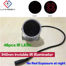 Lihmsek Miniature CCTV IR illuminator no red exposure 940nm Invisible Light Black Light Monitoring F5 48pcs IR LEDs CCTV Camera(China)