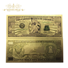 Wishonor 10pcs/lot Nice Colored America Banknote One Million Dollar Banknote in 24K Gold Plated Fake Paper Money For Collection(China)