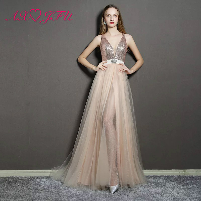 AXJFU Sexy v neck sleeveless Perspective illusion lace Evening Dress vintage princess beach beading champagne lace evening dress