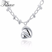 2017 New Necklace Hot Marketing Simple Heart Pendant Silver Plated Jewelry Cute Romantic Style Popular Design for Women HFNE0724