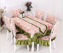 Floral lace printing tablecloth set suit 150*200cm table cloth matching chair cover 1 set price free ship(China)