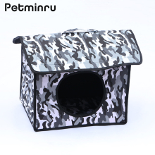 Petminru detachable pet cat dog house camouflage outdoor Pet Beds folding Puppy Kennel pet products(China)