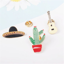 Free Shipping Potted cactus guitar planet brooch corsage collar pin pin up girl collar pin  accessories Jewelry