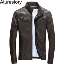 Aturestory Spring Men's Leather Jacket Male Fall Slim Jacket Baseball Collar Motorcycle Windbreaker Jaqueta Masculina Inverno(China)