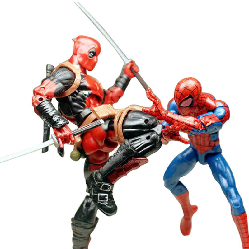 Marvel 2pcs Deadpool And Pizza Spiderman 6 inch Action Figure Movies With Weapon Accessories No Box Gift For Kids Birthday<br>