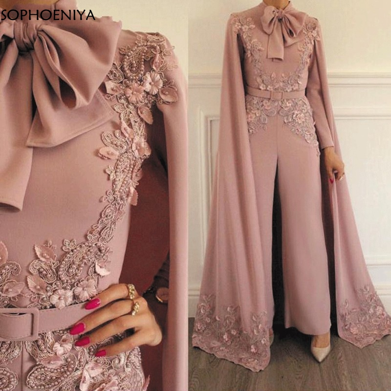 New Arrival Jumpsuit Rompers for Women Dusty Lace Appliques Evening Pants Dubai Arabic Evening Dress 2019 Party Evening gown(China)
