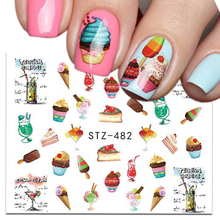 1 Sheets 2017 Delicious Cake Cool Drink Ice Cream Nail Art Water Decal Sticker For Nail Art Tattoo Decor Manicure CHSTZ 477/482(China)