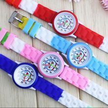 Cartoon Beautiful girl boy Doraemon style Color number dial children students girl's silicone quartz watch