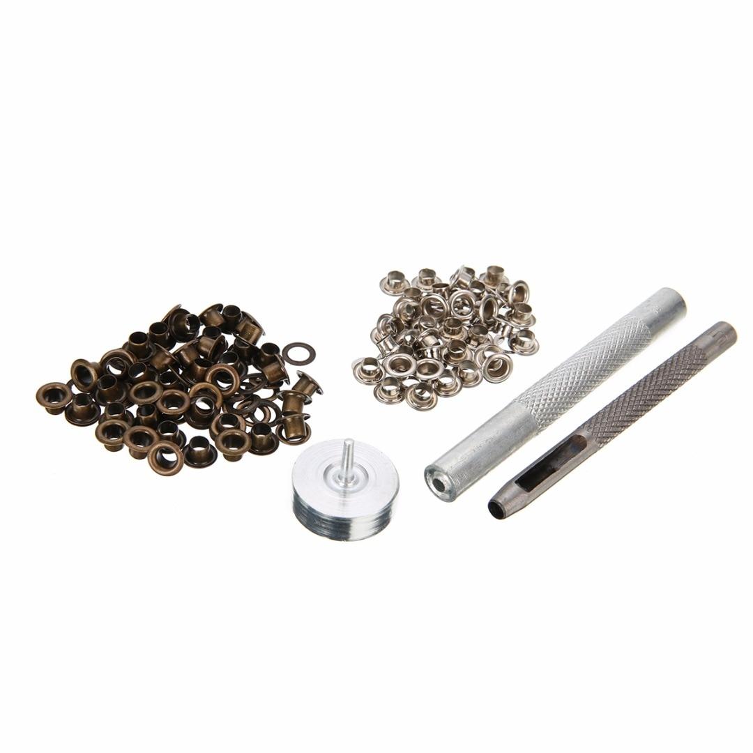 Mayitr 4MM Grommet Installation Setting Tool Kit Set + Leather Hole Punch + 80 Eyelets