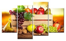 4 Panels Wall Art Painting On Picture Paintings Modern Fruit Kitchen Pictures Hd Print Canvas(China)