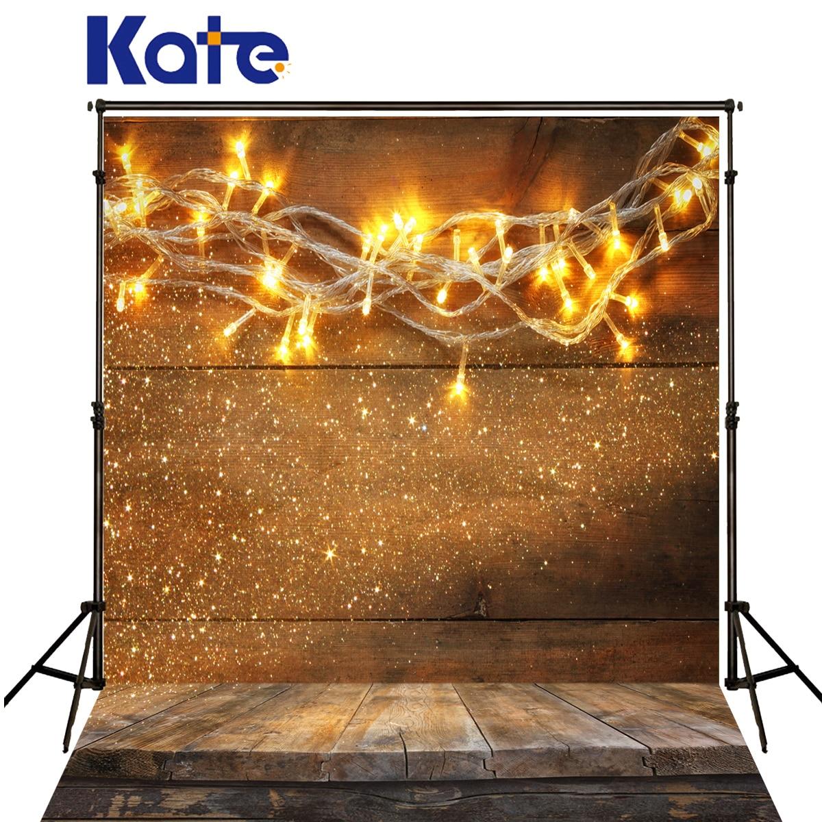 Kate Christmas Backgrounds Photo Colour Lights Spot Fundo Fotografico Madeira Dark Wood Texture Floor Backdrops For Photo Studio<br>