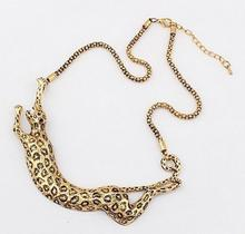 New Maxi Necklaces Antique Gold Color Leopard Necklaces & Pendants Personalized Statement Necklaces For Women Party Jewelry