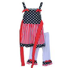 American Independence Day Costume  Patriotic Star Printing Girl Dress White Capris Girls Summer Clothing Sets With Belt J007