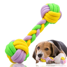 Handmade Cotton Knot Rope Toy Dog Chew Toys Bone Shaped Pet Dog Toy Dog Accessories Molar Cleaning Teeth Products Random Color