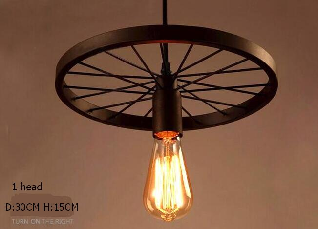 Retro industry Loft industrial wind Pendant Lights creative personality bar retro Cafe dining room lamp iron wheel GY298<br>