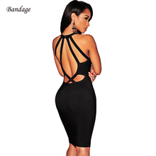 Buy Summer Hollow Halter Backless Bodycon Bandage Dress Cheap High Quality Going Celebrity Style Women Sexy Mini Dresses