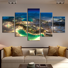 Beautiful Decorative Wall Art Pictures Planet Earth Poster of Earth Surface from Universe Canvas Prints Custom Dropshipping(China)