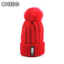 BHESD 2017 Faux Fur Pompom Beanie Hat Red Women Knitted Warm Winter Caps Female Pom Pom Autumn Hat Crochet Casquette Gorro JY521(China)