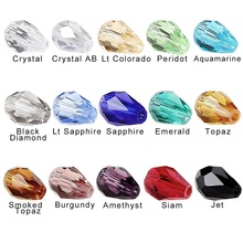 Tear Drop Crystal Beads 10*15MM (50PCS/LOT)Mixed Color Crystal Drop Beads Straight Hole Faceted Glass Stones Charms for Jewelry(China)