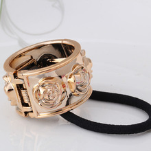 New Fashion Rose Flower Designer Elastic Rubber Bands Punk Hair Accessories Hair Ropes Headband Scrunchy