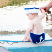 Newborn Baby Boy Crochet Navy Hat+Pants Photography Props Outfits Infant Unisex Baby First Birthday Photoshoot Props Clothes(China)
