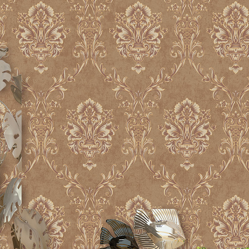 European Style 3d Embossed Wallpaper Roll Brown Living Room Background Wall Papers Home Decor Luxury Wallpaper Wholesale Sales<br>